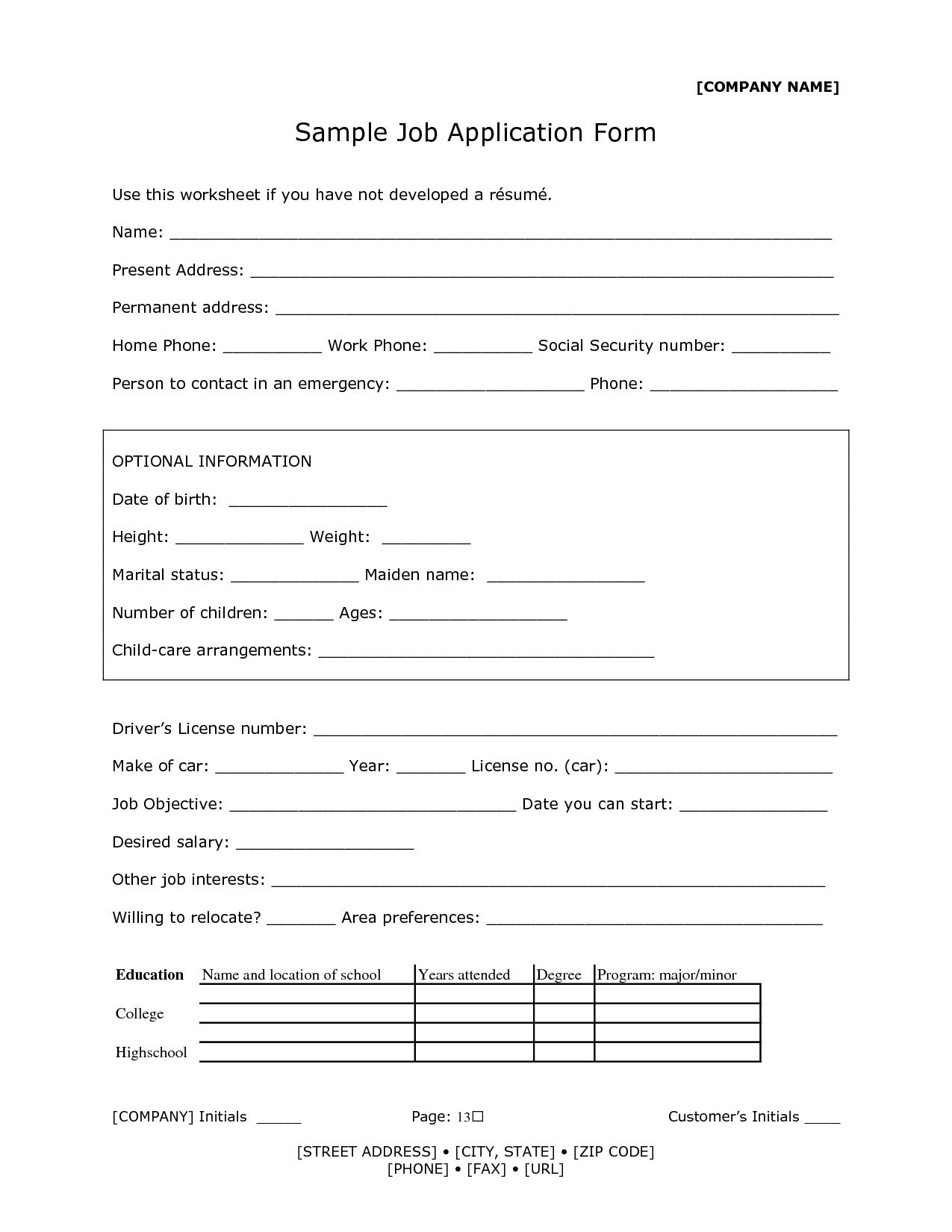 Sample Of Job Application Form Fa09ivho 13 Sample Of Job