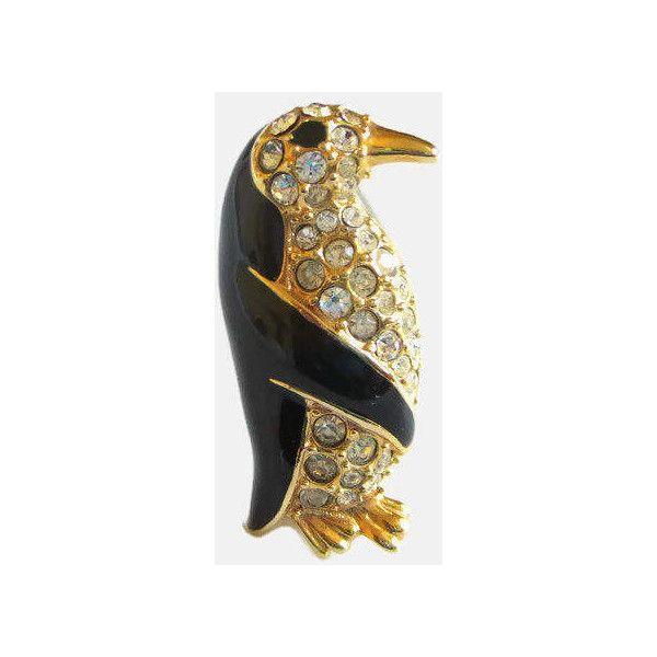 Penguin Pin, Krementz, Vintage Rhinestone Enamel, Designer Signed,... ($26) ❤ liked on Polyvore featuring jewelry, brooches, pin brooch, vintage enamel jewelry, rhinestone brooches, vintage broach and vintage rhinestone brooch