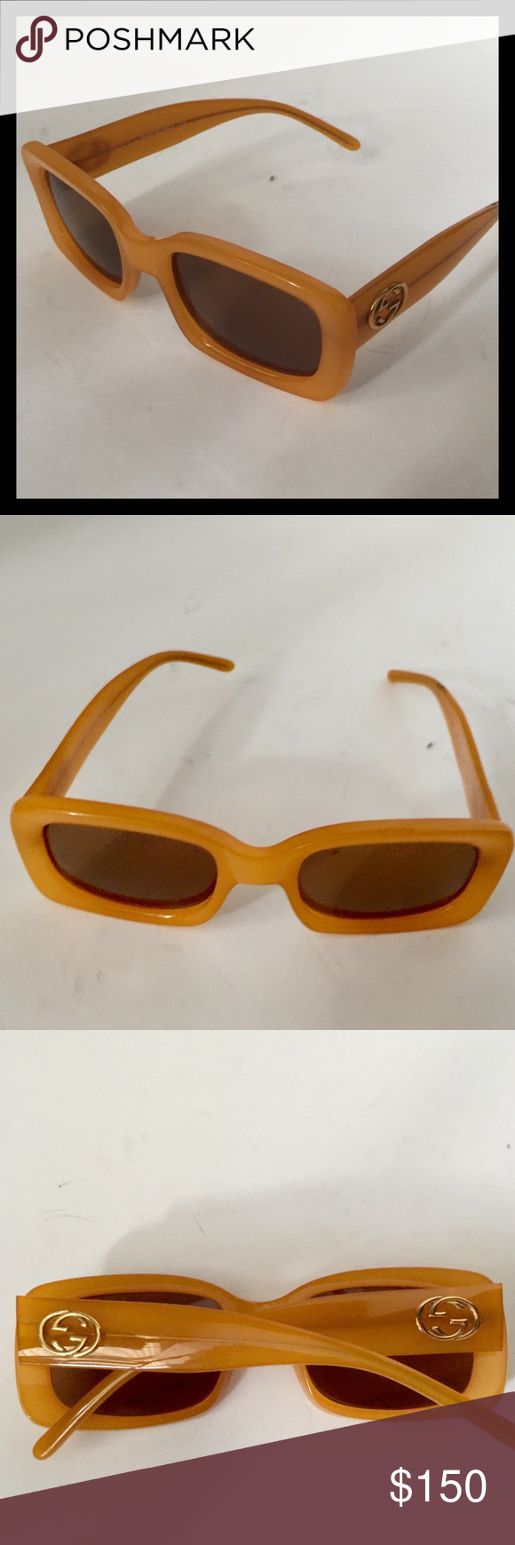 "a49c4e1740267 Measurements  6""L x 6""W x 1.5""H Color  Orange Style Collection  135 GG 2407 S  XD8 Gucci Accessories Sunglasses"