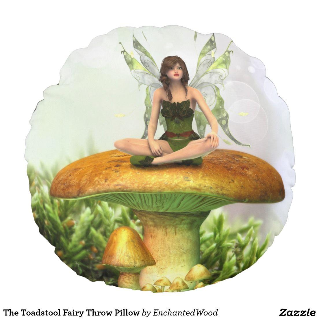 The Toadstool Fairy Throw Pillow Round Pillow