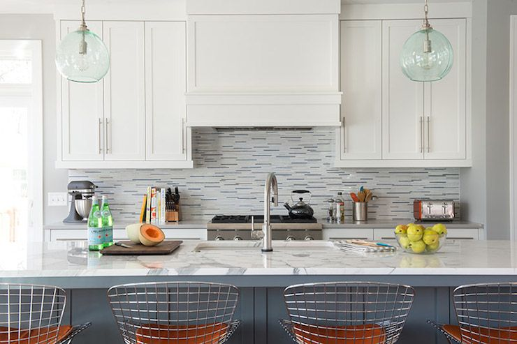 White and Gray Glass Tiles, Contemporary, kitchen, Studio M Interiors