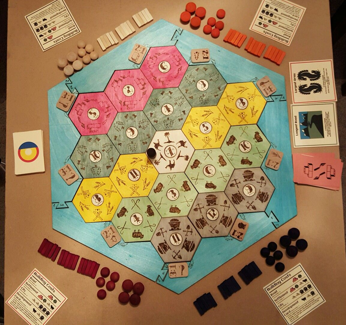 Custom Catan Board Wood Burned Hexes Rit Fabric Dye Staining Custom Cards Fun Project How To Dye Fabric Custom Cards Catan Board