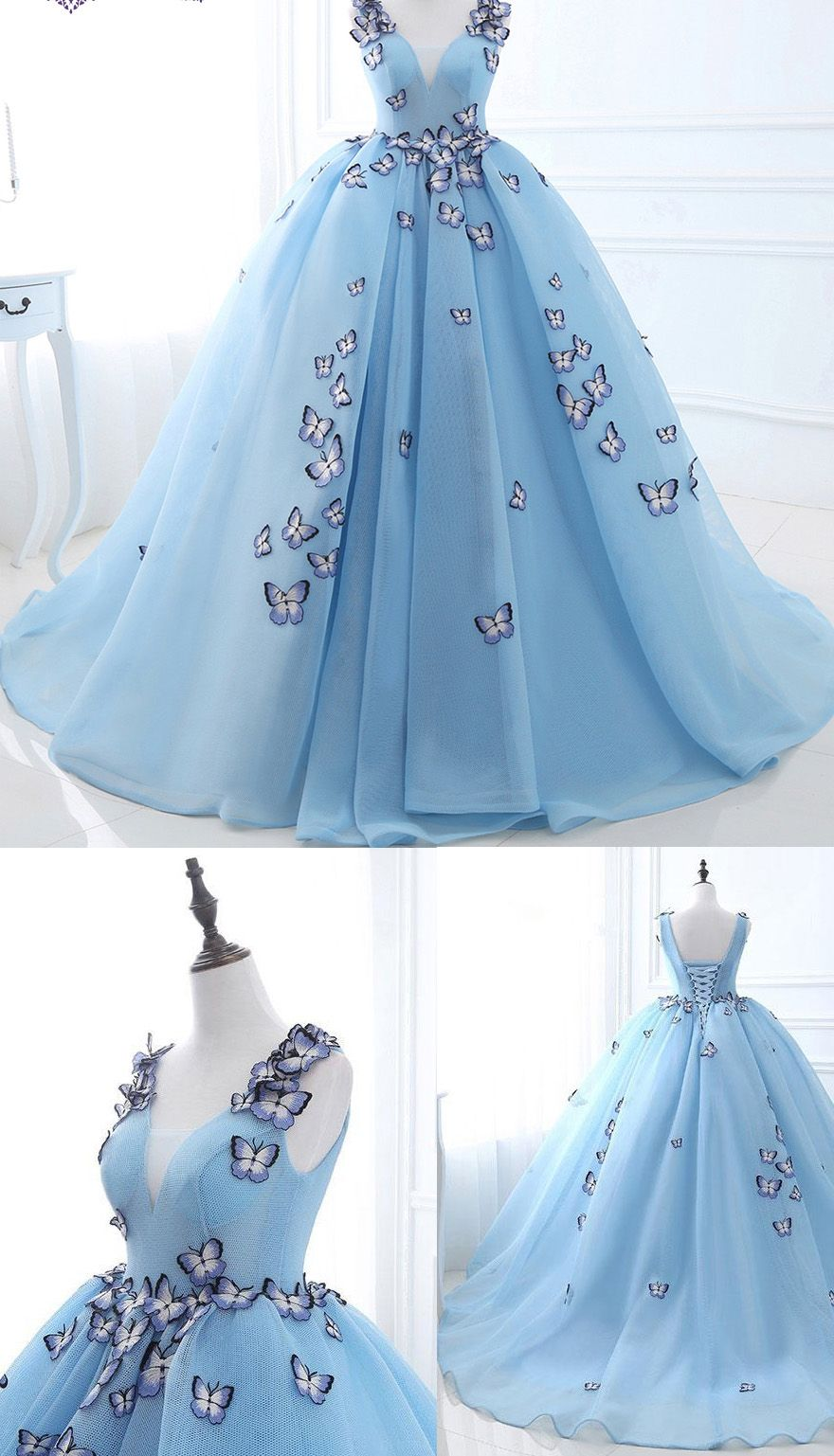 Light blue long wedding dress with lace up applique tulle sweep