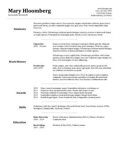 Goldfish Bowl - Free Resume Template by Hloom.com | Basic ...