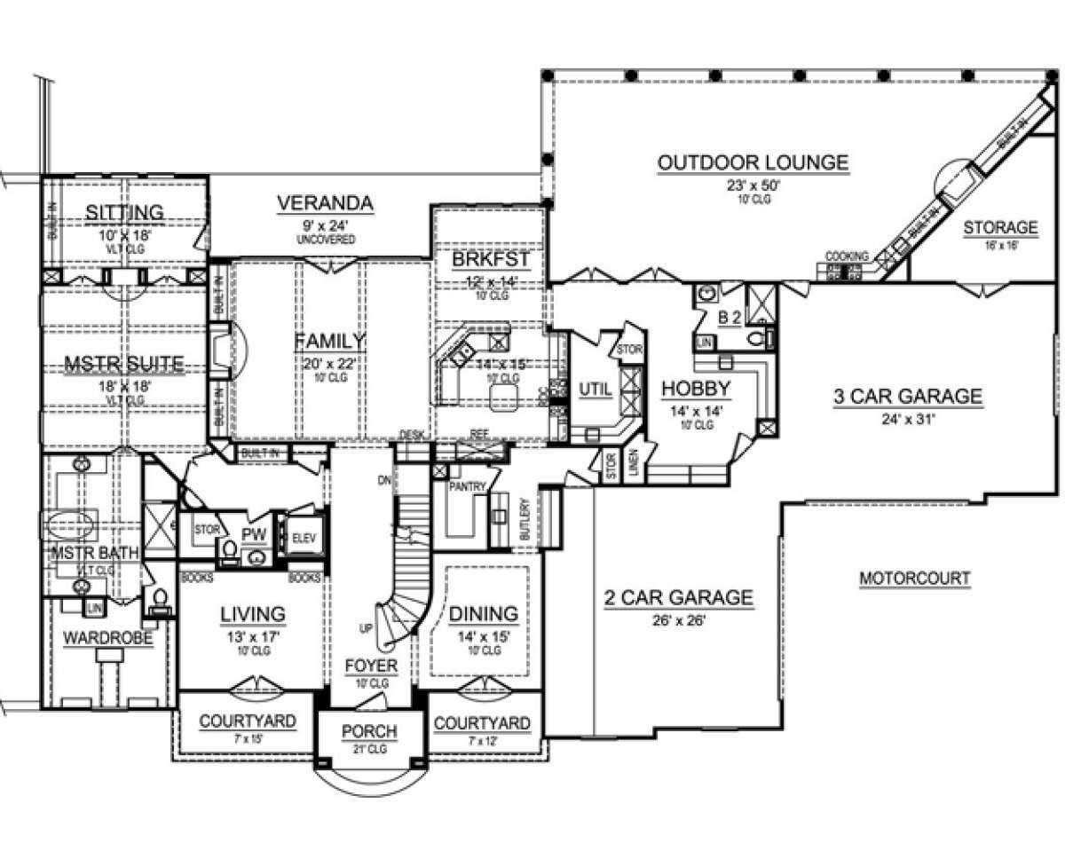 House Plan 5445 00106 Luxury Plan 7 535 Square Feet 4 Bedrooms 5 5 Bathrooms In 2021 Luxury House Plans Luxury Plan Home Design Floor Plans