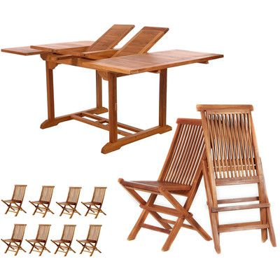 All Things Cedar 9 Piece Extension Dining Set