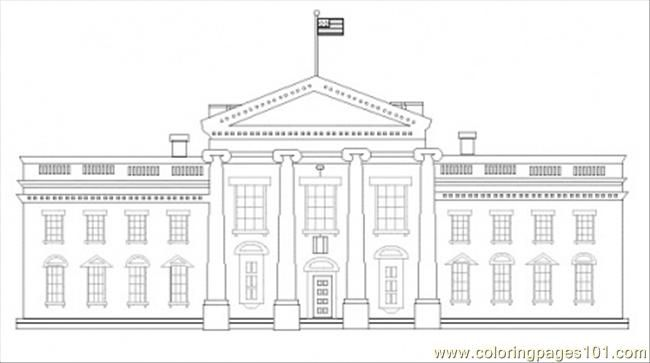 White House American Symbols Unit House Colouring Pages