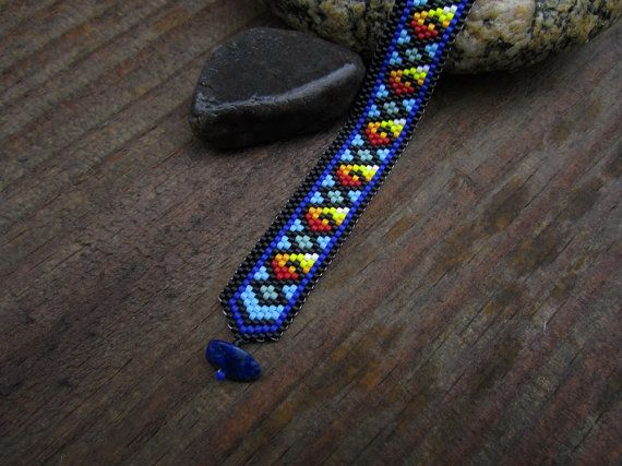 Diamond Wave Peyote Stitch Bracelet with Lapis by Elewmompittseh