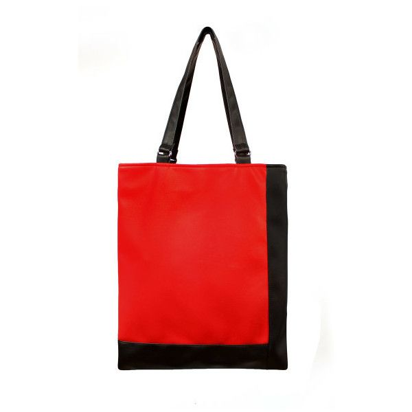 red black contour tote ($105) ❤ liked on Polyvore featuring bags, handbags, tote bags, faux leather tote bag, red tote bag, zippered tote, vegan leather tote and vegan handbags