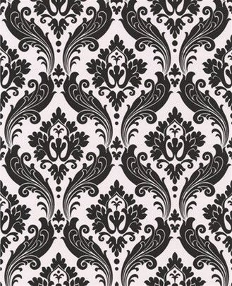 Black And White Vintage Flock Wallpaper From The Graham Brown Kelly Hoppen Collection