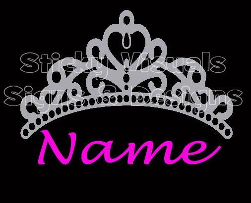 Personalized tiara silver with princess name in hot pink window custom vinyl decals ebay
