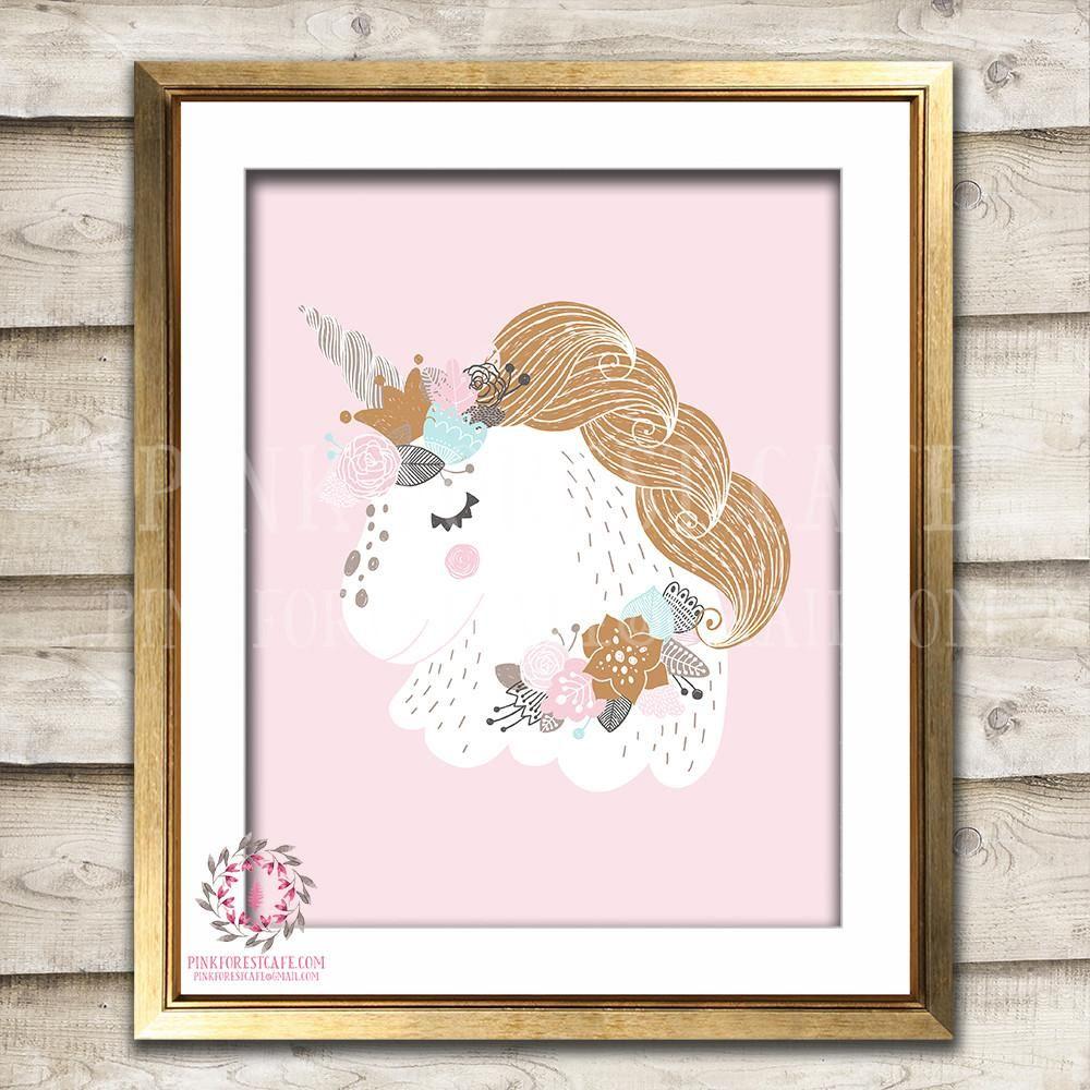 Sleeping unicorn baby girl nursery boho room printable wall art