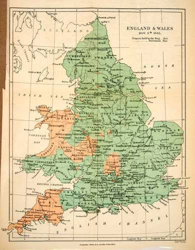 1893 Lithograph England Wales Map English Revolution Oliver
