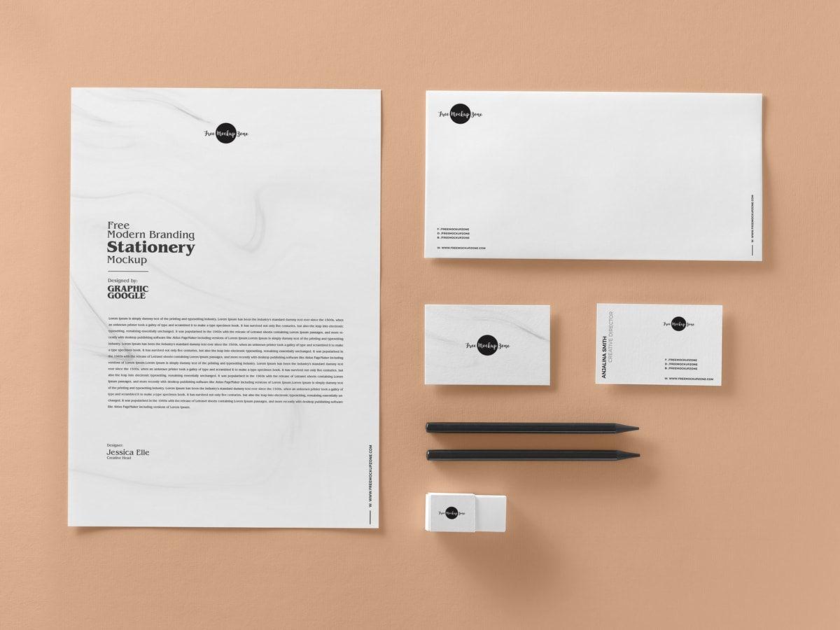 Free Premium Branding Stationery Mockup Psd 2018 Stationery Mockup Free Stationery Mockup Stationery Branding