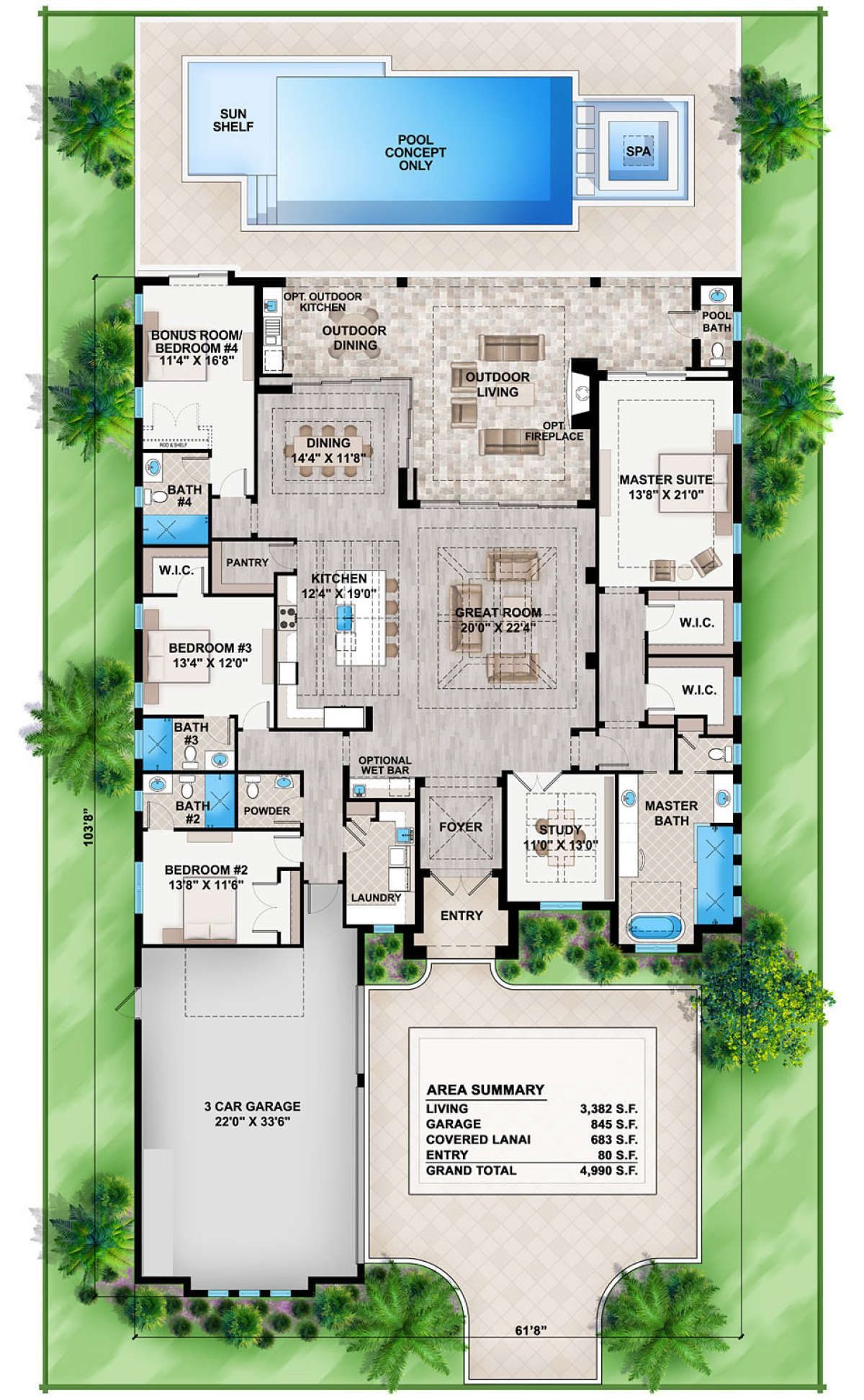 House Plan 207 00052 Florida Plan 3 382 Square Feet 4 Bedrooms 5 Bathrooms Florida House Plans Contemporary House Plans House Plans