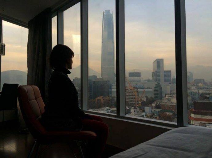 Vista do meu quarto no Hotel Torre Mayor Providencia