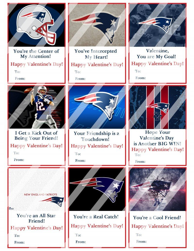 New England Patriots Digital Or Printed Valentines Day Cards 2 5x3 5 Sheet 8 With Images Valentine Day Cards New England Patriots