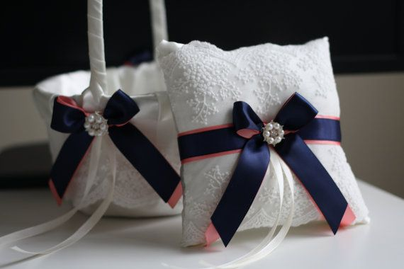 Lace Bearer Pillow Navy Wedding Flower Lace Ring bearer Girl Basket Set