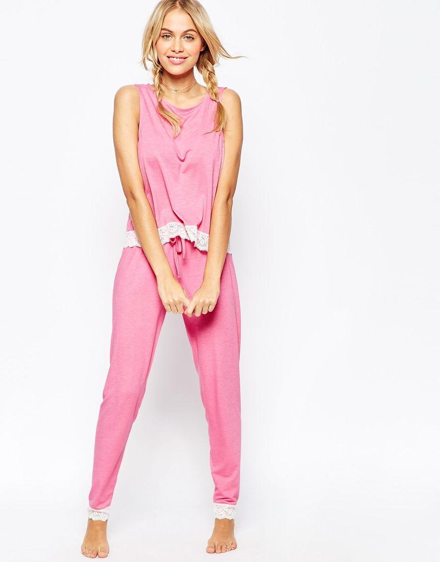 Asos Womens Lace Trim Tank & Legging Pajama Sety Pink - Sleepwear