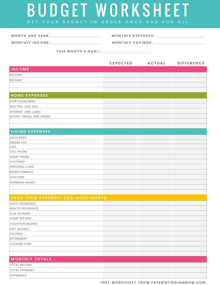 FREE Printable Household Budget Worksheet – Excel & PDF Versions ...