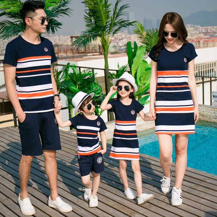b2f135422fd Family of Matching Clothes - Mother Daughter Striped Dresses   Father Son  Shirt