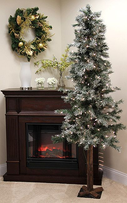 6\u0027 Pre-Lit Frosted and Glittered Woodland Alpine Christmas Tree