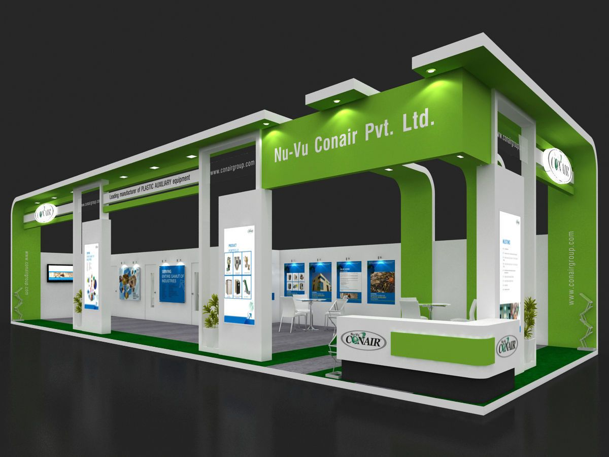 exhibition stall 3d model 17x6 mtr 2 sides open 3d model max 3ds 1