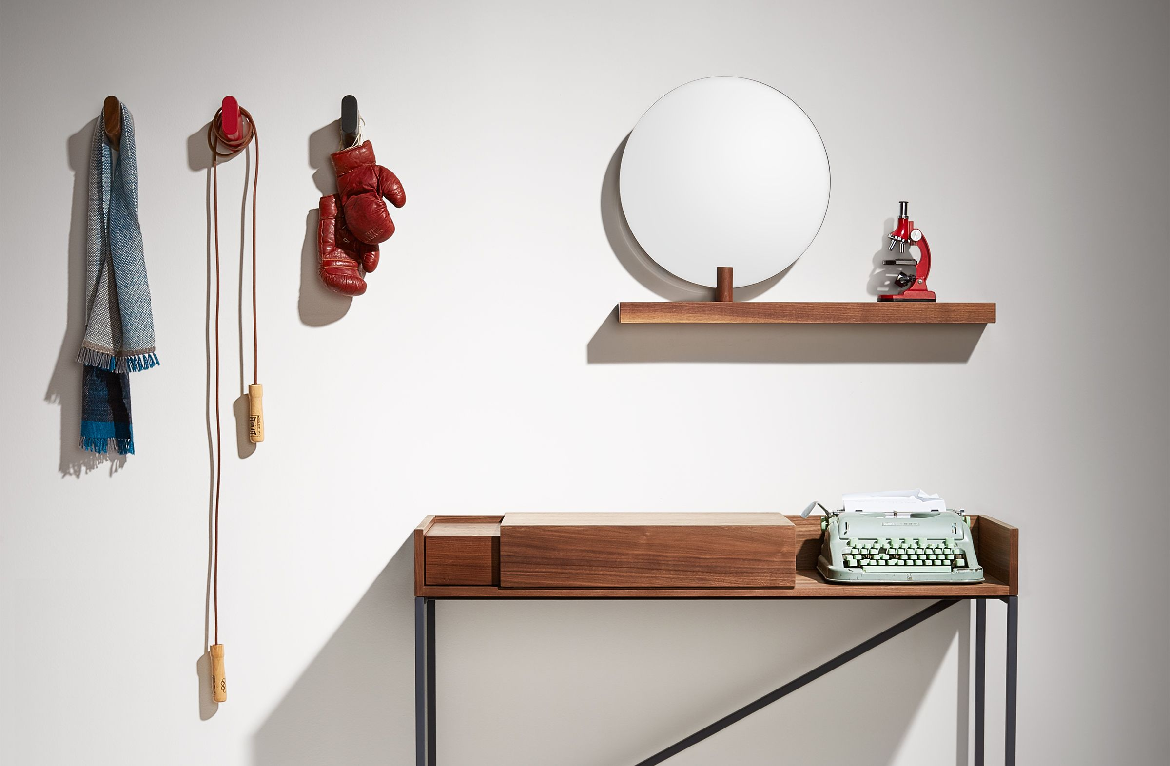 Last chance floating wall shelf with mirror blu dot furniture