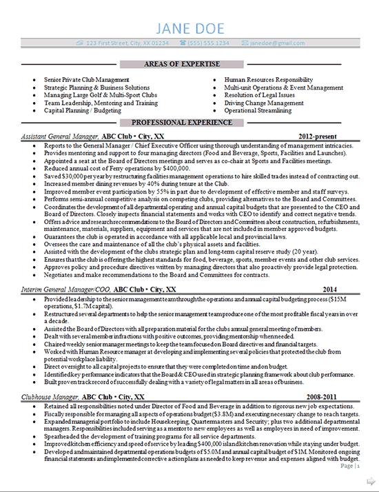 Advertising Account Executive Resume Simple General Manager Resume Example For A High Level Professional With .