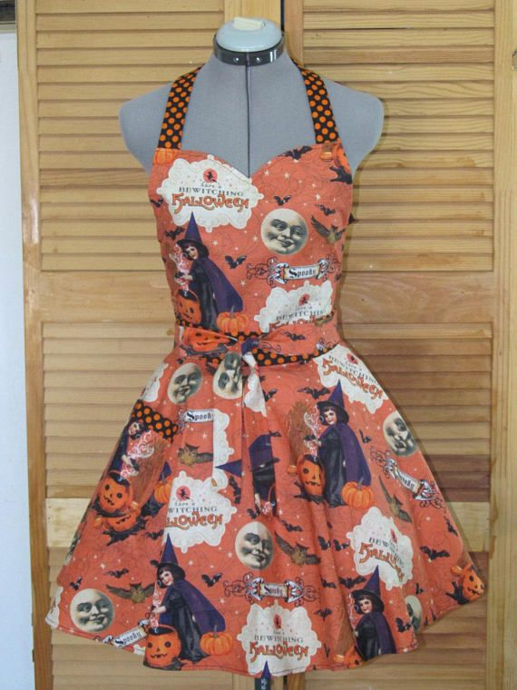 Halloween Aprons Sale | Happy Halloween Full Flounce Apron Great For A Halloween Costume