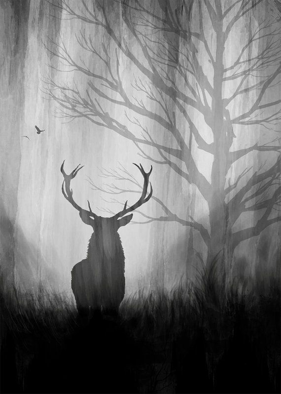 Deer Print Deer Painting Black And White By Themindblossom