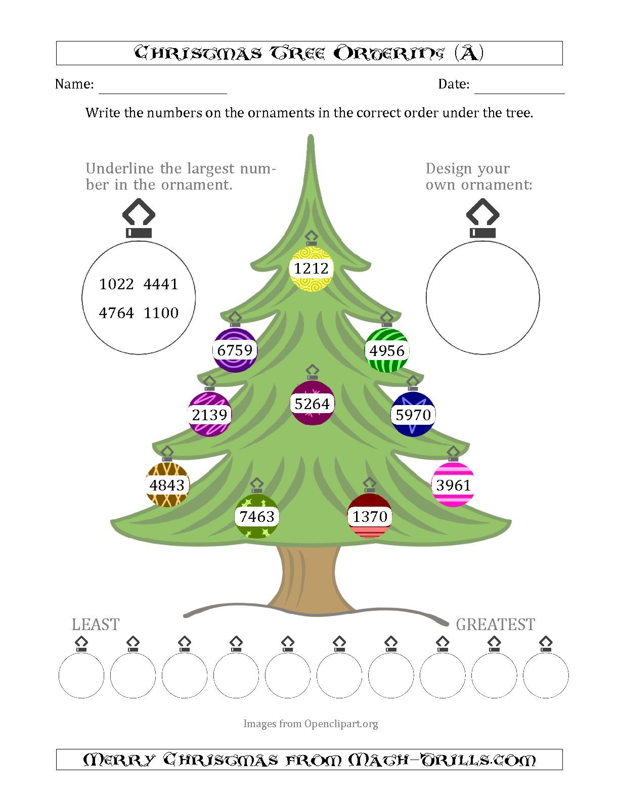The Ordering Sorting Numbers 1000 To 9999 On A Christmas Tree A Math Worksheet From The Christmas Mat Christmas Math Worksheets Christmas Math Math Worksheet