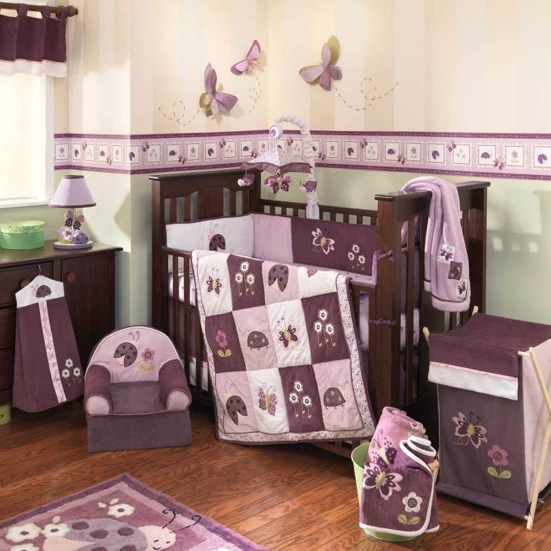 Purple Nursery Themes Erfly Theme Erflies Baby Crib Bedding