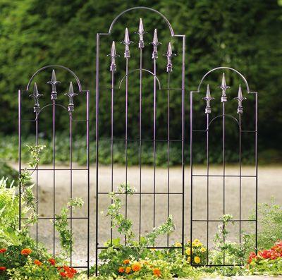 Metal Garden Trellis With Fleur De Lis Accents
