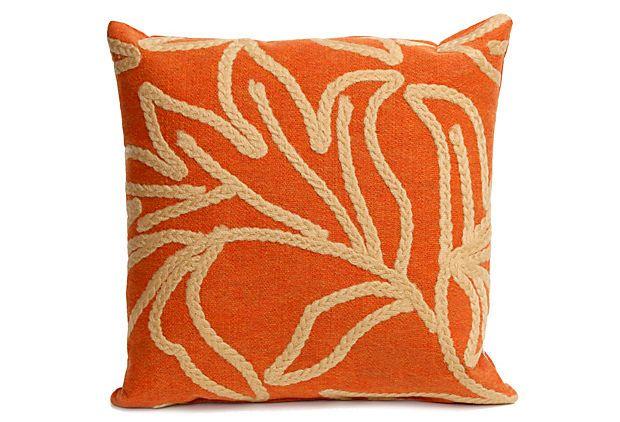 S/2 Crochet Flower 18x18 Pillows, Orange