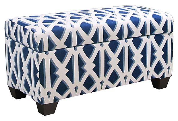 Hayworth Storage Bench, Navy/White On OneKingsLane.com