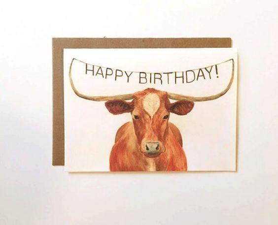 Texas Longhorn Happy Birthday Card Birthday Cards For Birthday
