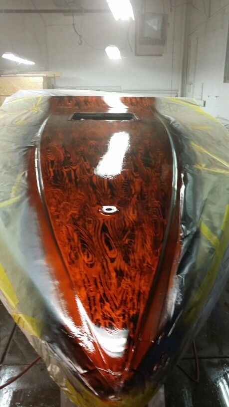 Tangerine kandy over silver white marbalizer woodgrain paint