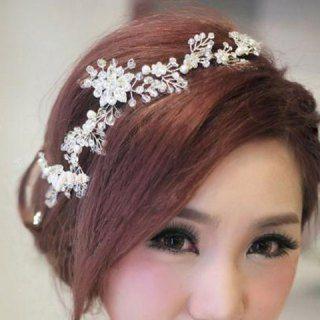 Delicate Rhinestone Beads Flower Hairband For Bride