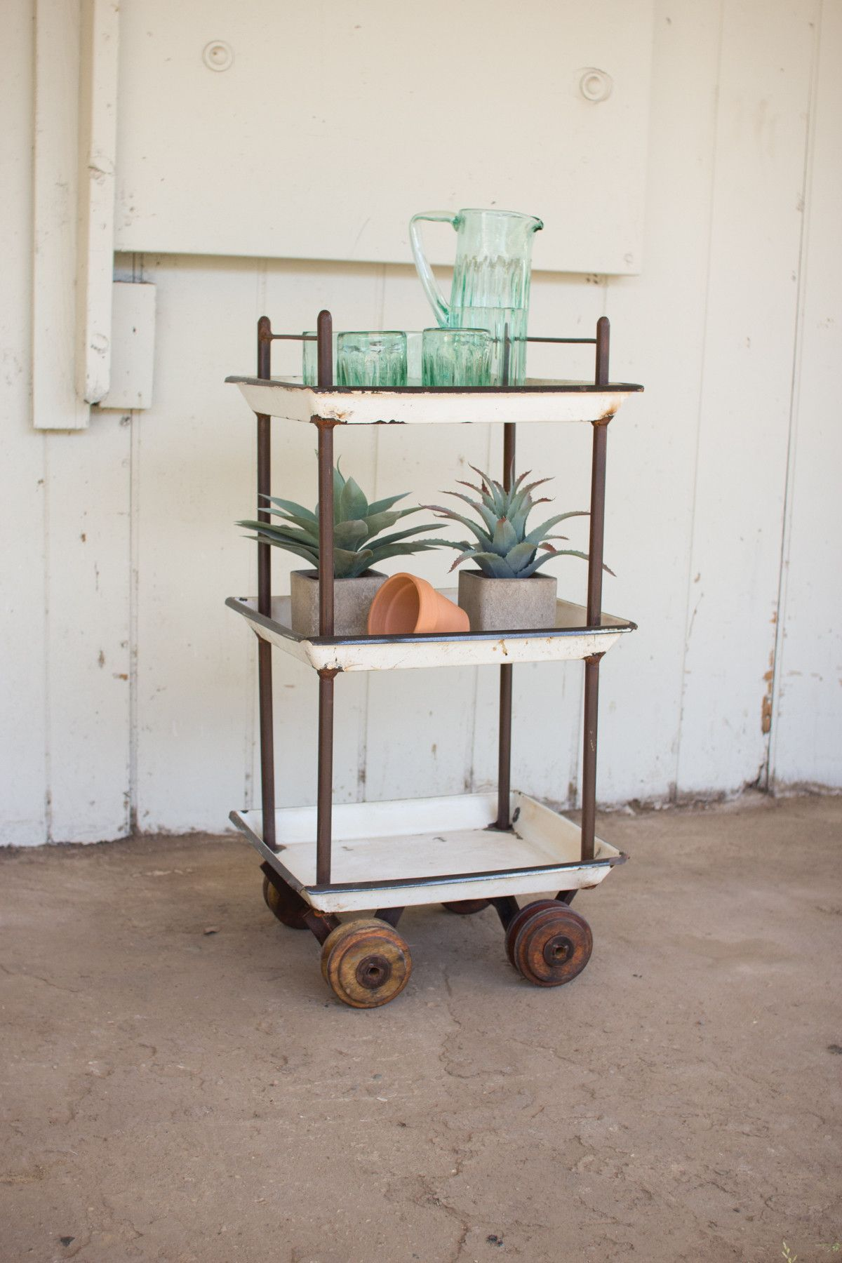 Recycled Enamel Trays Bar Cart With Wooden Casters – First of a Kind