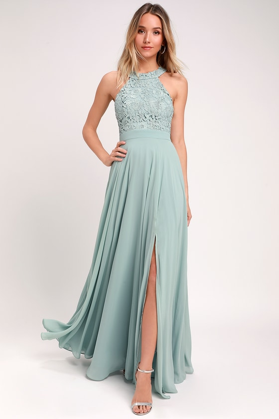 Picture Perfect Sage Green Lace Maxi Dress #sagegreenbridesmaiddresses Lulus | Picture Perfect Sage Green Lace Maxi Dress | Size Large | 100% Polyester #sagegreendress