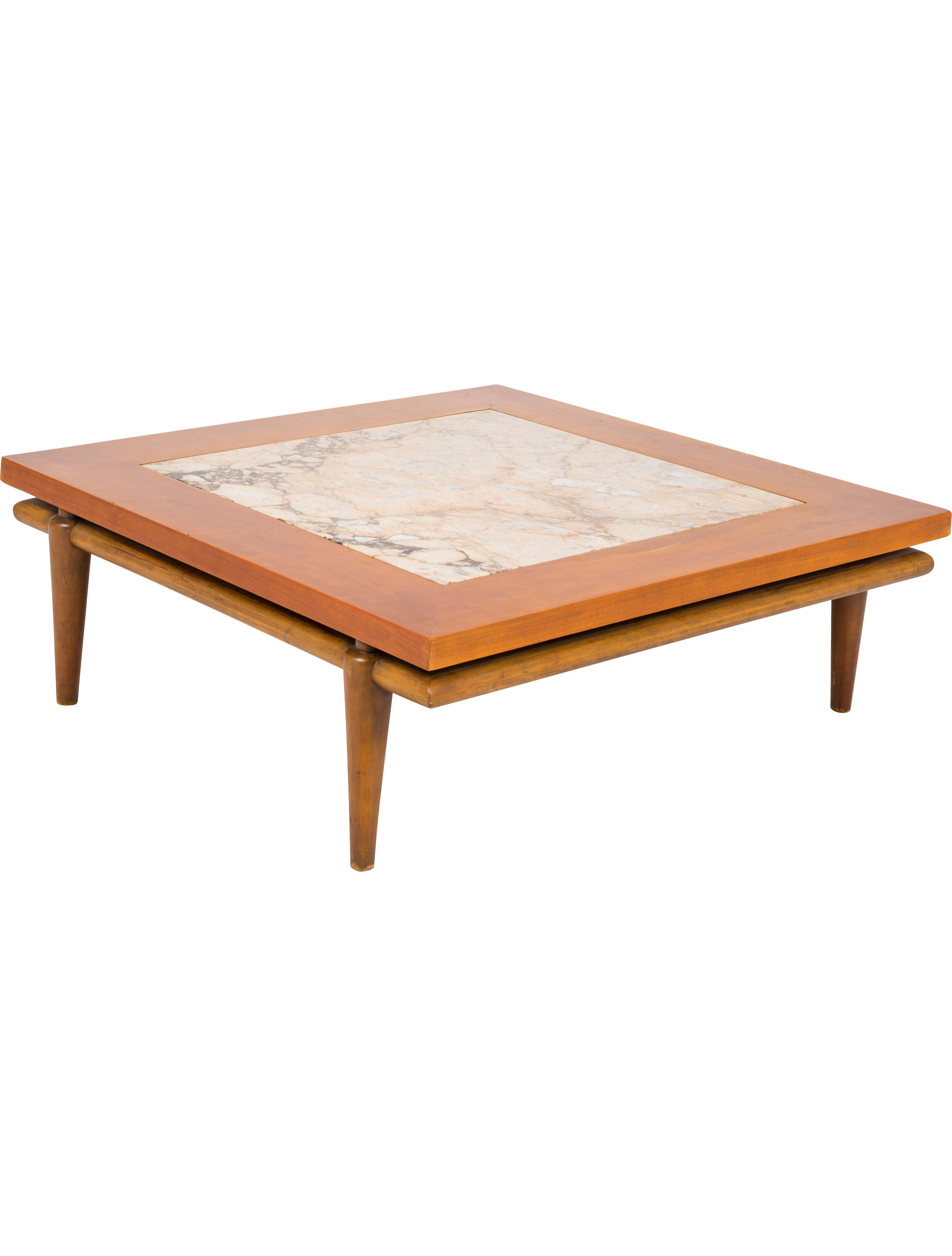 Wood John Widdicomb Coffee Table With Marble Inlay Tapered