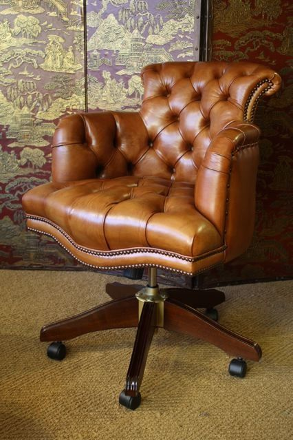 Charmant Fully Upholstered Captainu0027s Chair Desk Chair In Leather