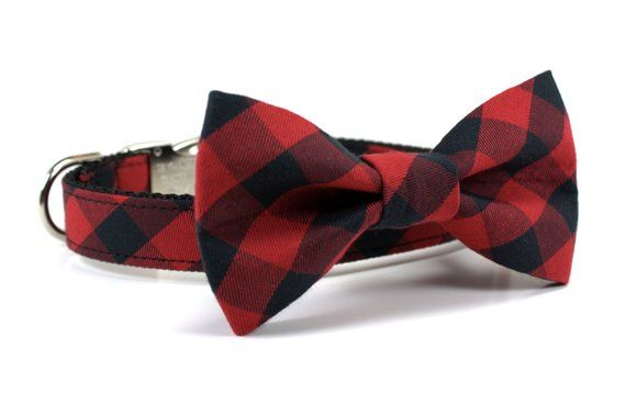 1487a9626a8 Red Buffalo Plaid Collar and Bow Tie Set - Red and Black Plaid - Holiday  Dog Collar