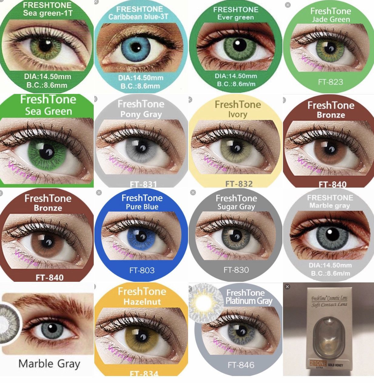 Freshtone New Colors And Non Prescription Contacts Reusable Up To 3 Months With Proper Care Plea Contact Lenses Colored Eye Color Chart Green Contacts Lenses