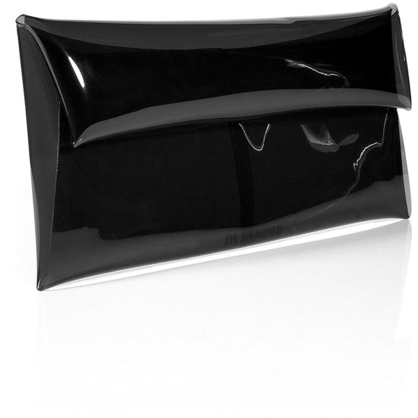 JIL SANDER Black Plastic Envelop Clutch ($161) ❤ liked on Polyvore featuring bags, handbags, clutches, purses, accessories, carteras, handbags purses, envelope evening clutch, envelope clutch bag and hand bags