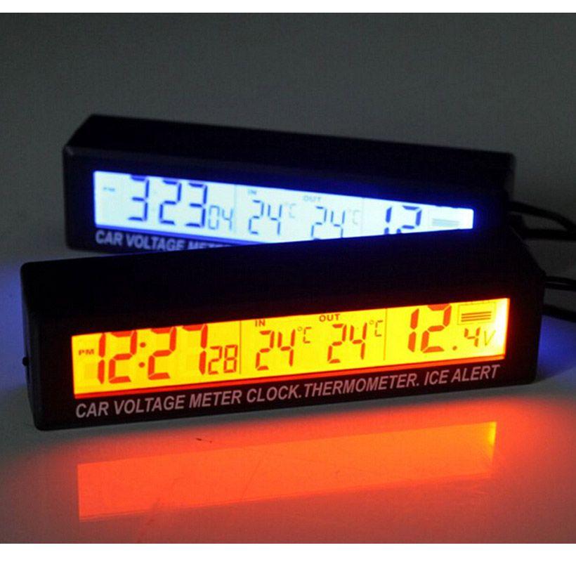 3in1 De Alta Qualidade Tela Lcd Relogio Digital Car Auto Veiculo Tempo Temperatura Relogio Termometro Tensao Voltimetro Frete Portable Clock Clock Thermometer