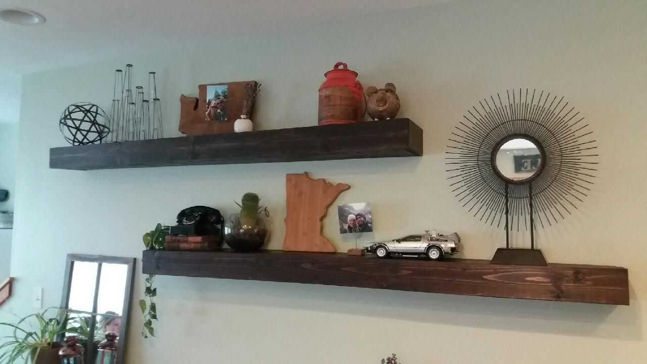 Custom 4 Inch Thick 6 Foot Wide Floating Shelves The Customers Wanted A Clean Slick And Versatile Look In Their E Great Decor Too