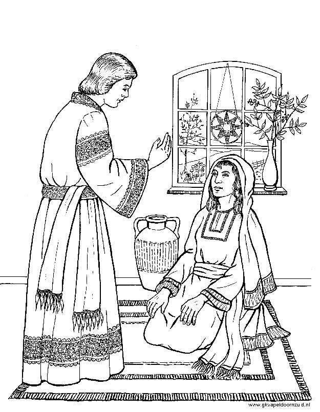 Zacharias In De Tempel Kleurplaat De Engel Gabriel Bij Maria Kerst Kleurplaten