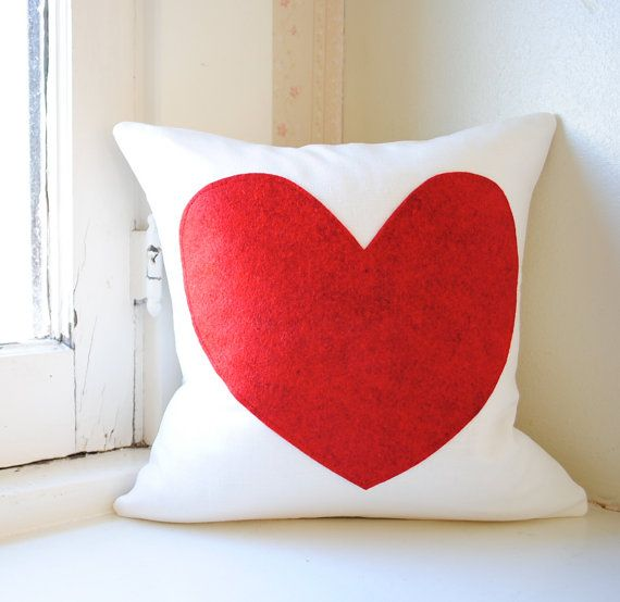 10 diy throw pillow ideas.htm heart pillow cover white linen and deep red felt  with images  heart pillow cover white linen and